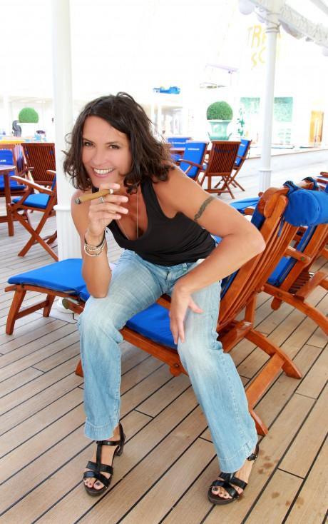 Davidoff Tour Gastronomique 2012  Restaurant Vier Jahreszeiten auf dem Traumschiff MS Deutschland Hamburg   Ulrike Folkerts